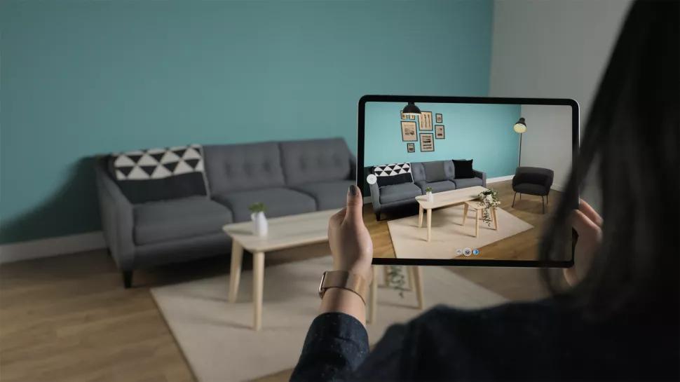 Cảm biến LiDAR dùng để vẽ bản đồ 3D trên iPad Pro 2020. Ảnh:Apple.