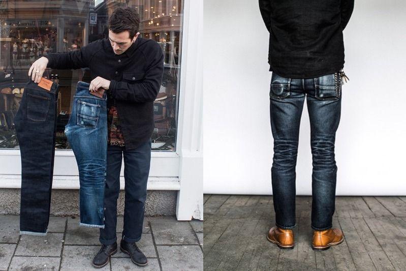 Hình trái: Cùng một kiểu quần, nhưng một bên là hàng mới raw chưa breaking và một bên là quần đã breaking. Hình phải: quần trong quá trình breaking.